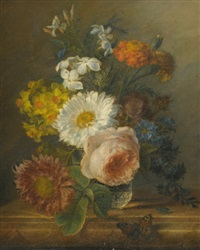 a still life with daffodils, a rose and other flowers in a vase with a butterfly, a dragon fly and a beetle by jan frans van dael