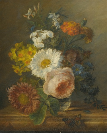 a still life with daffodils a rose and other flowers in a vase with a butterfly a dragon fly and a beetle by jan frans van dael
