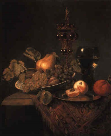 a bowl of fruit peaches on a pewter plate a roemer and a covered chalice by pieter van den bos