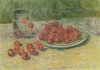 a still life with cherries by carel nicolaas storm van 's-gravensande
