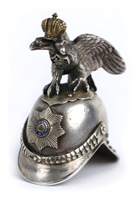 a russian cast silver and enamel miniature vodka cup in the shape of a helmet by erik august kollin