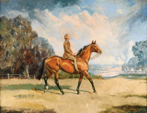 "miss rosemary schreiber riding ""fishergirl"" at tetbury, gloucestershire by raoul millais"