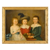 three children with bowl of fruit and bird by anglo-american school (19)