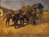 zwei soldaten mit ihren pferden bei der rast am brunnen by ede lengyel-reinfuss