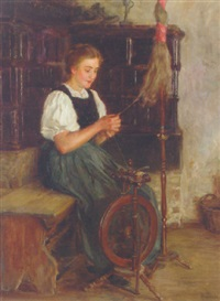 a spinning german peasant woman by wilhelm g. hasemann