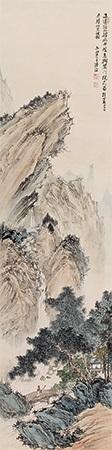 江村萧寺图 temple by pu ru