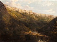 river landscape with steam locomotive by hudson river school