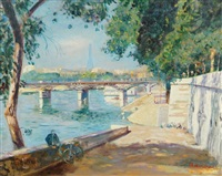 by the seine, with eiffel tower in the background by lucien adrion