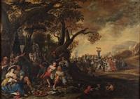 scène de banquet avec l'adoration du veau d'or by anthonie palamedesz