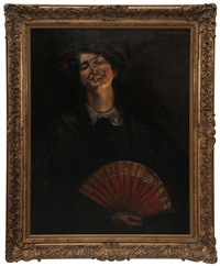 woman with red fan, paris by edwin booth grossman