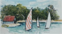 sail boats at caloundra by joy roggenkamp
