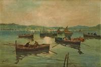 coucher de soleil sur le port by jacques bartoli