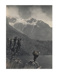 two mountain views, one of mount stanley with bujuku lake in the foreground, the other showing the head of the mobuku valley and a glacier (2 works) by vittorio sella