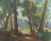 mother & child on dappled path by james ranalph jackson