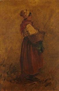 femme au panier by leon germain pelouse