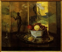 still life with fruit and nude statue by henry r. rittenberg