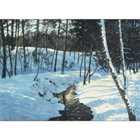 winter sunlight through the forest by lorne kidd smith