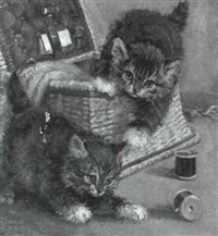 two kittens playing with a sewing box by john valentine