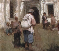wandering pilgrims outside a church by sergey korovin