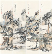 山水 (四幅) (in 4 parts) by yao shuping