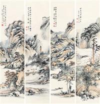 山水 (四幅) (in 4 parts) by yao shuping