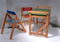 verstellbarer kinderschreibtisch mit zwei stühlen (set of 3) by merkur (co.)