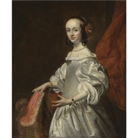 portrait of a young lady wearing a white satin dress and holding a feather by isaac luttichuys