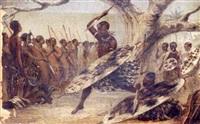 war dance of emigrant zulus by john thomas baines