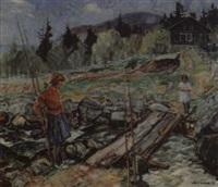 pikene på broen maleri