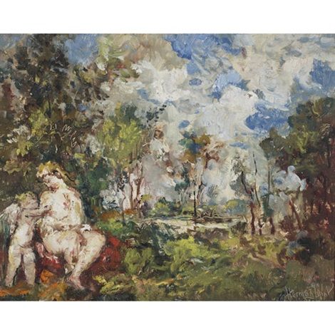 mother and child bathing in a wood 2 others 3 works by lipót herman