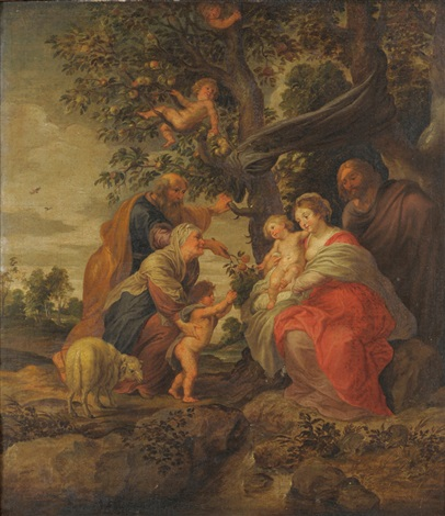 the holy family beneath a tree with attendants nearby by sir peter paul rubens