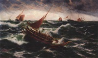 fishing boats and ships in rough seas by j. r. miles