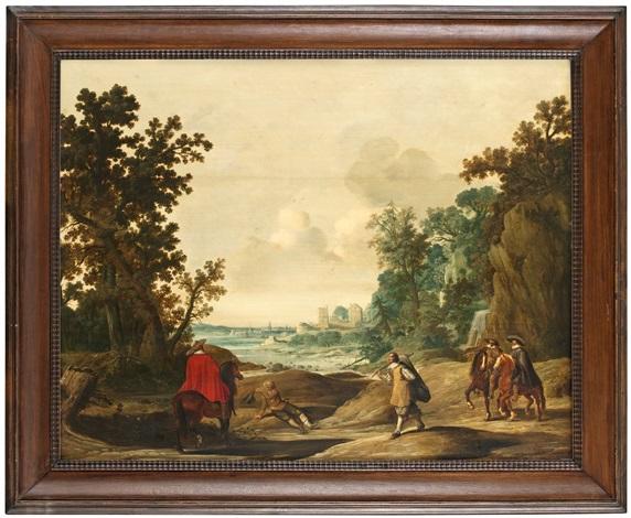 vidsträckt landskap med ryttare och tiggare by gerrit claesz bleker