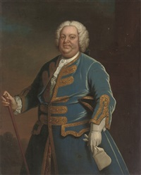 portrait of a gentleman in a blue coat with gold trim, holding a walking cane in his right hand by andrea soldi