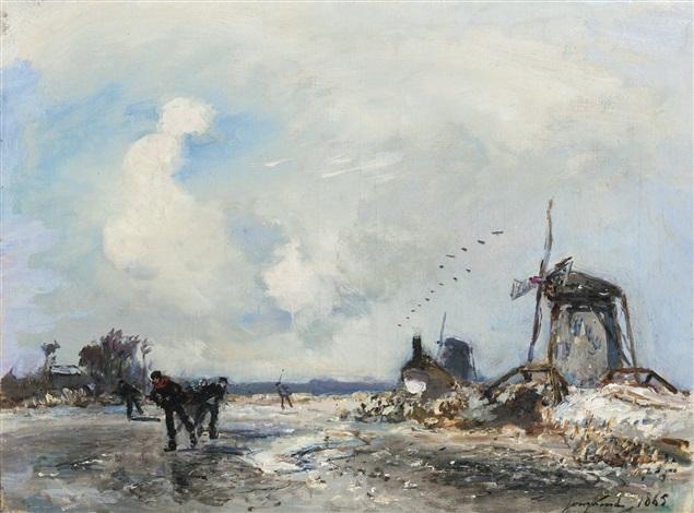 moulins et patineurs en hollande by johan barthold jongkind