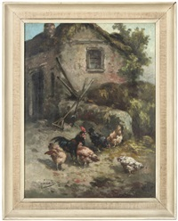 chickens in a farmyard by louis marie lemaire