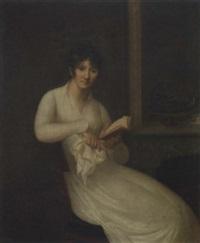 jeune femme assise tenant un livre près d'une cheminée by charles fournier