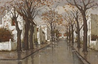 street scene after the rain by charles van der merwe