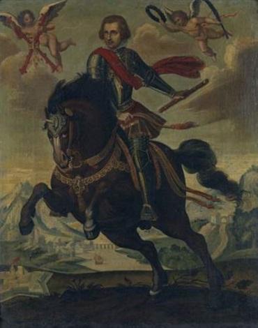 portrait dun prince espagnol à cheval en armure portant lordre de la toison dor by hispano flemish school 17