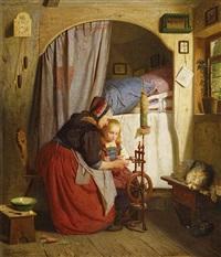 großmutter mit ihrer enkelin am spinnrad by heinrich leinweber