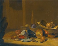 a barn interior with cabbages in a basket, a strainer and a westerwald stoneware jug in a wooden washing tub on a barrel with copper buckets, pots and pans, a jug, a shoe and a chinese plate nearby by pieter van steenwijck