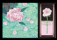 peony (+ rose in glass vase (2 works in 1 frame); 3 works) by kaoru kan