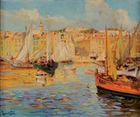 le port de saint-tropez by lucien laurent-gsell