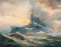 firtinada savaş gemisi by m. kemalettin
