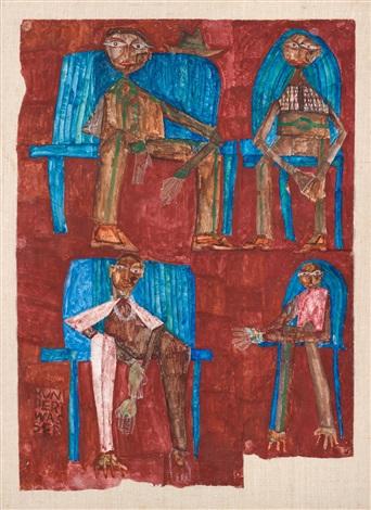 vier männer auf sesseln brauner hintergrund by friedensreich hundertwasser