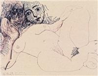 femme nue couchée by pablo picasso