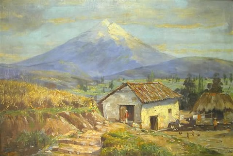 south american farm buildings with large snow capped mountain in background by emilio moncayo
