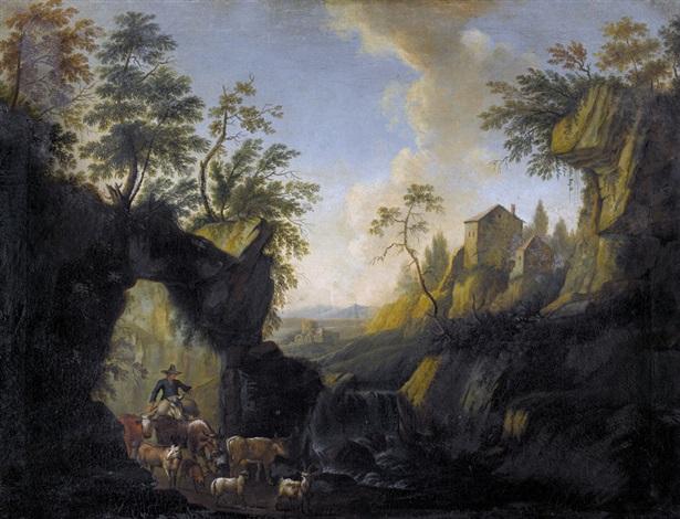 felsige landschaft mit hirten und vieh by philipp peter roos
