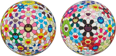 flower ball cosmos 3d and flower ball blood 3d v 2 works by takashi murakami