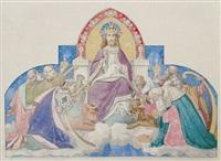 maiestas domini. thronender christus, eine schriftrolle haltend, mit den hl. drei königen zur linken und den vier evangelisten zur rechten by edward jakob von steinle